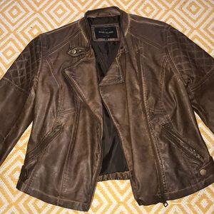 River Island Brown Cropped Fake Leather Jacket